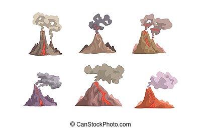 wulkan, wybuch, na dół, wektor, magma, ilustracja, zbiór, ...