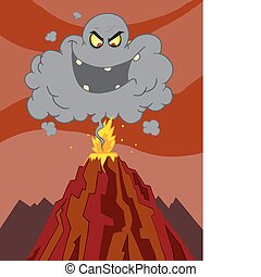 wulkan, wybuchająy, chmura, nad