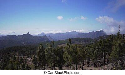 wulkaniczny, evergreen, szybki, mgiełka, timelapse., wyspa, iglasty, las, góry, ruch, mokry, dolina, chmury