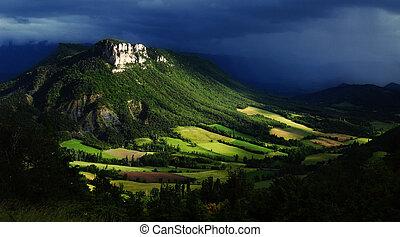 wunderbar, hügel, -french, landschaft