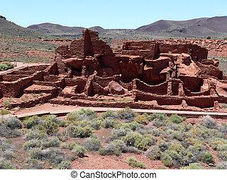 Ruins of Wupatki pueblo in Wupatki National Monument, Arizona, U.S.A.