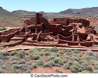 Wupatki Pueblo Ruins - Ruins of Wupatki pueblo in Wupatki...