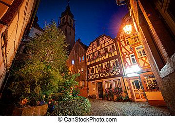 wurzburg, antigas, rua, cidade, alemanha, bavaria