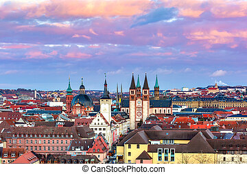 Wurzburg at sunset, Northern Bavaria, Germany