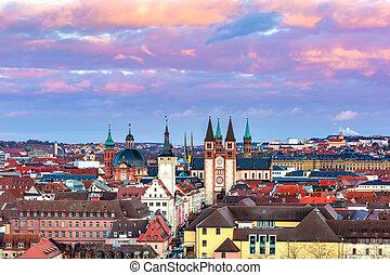 Wurzburg at sunset, Northern Bavaria, Germany