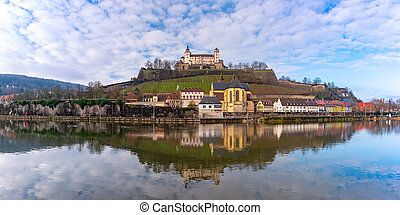 Panoramic view of Marienberg Fortress in the sunny day, Bavaria, Germany