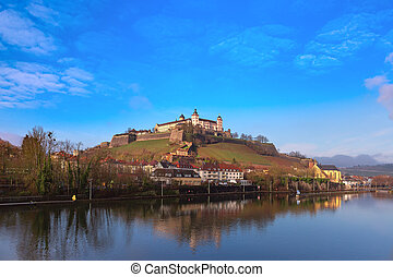 View of Marienberg Fortress in the sunny day, Bavaria, Germany