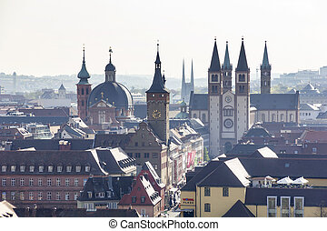 Architecture of old town Wurzburg, Germany.