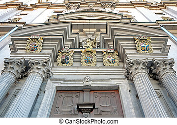 Wurzburg, Germany: the facade of an old building - view from bel