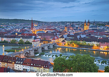 Image of Wurzburg with Main River during twilight blue hour.