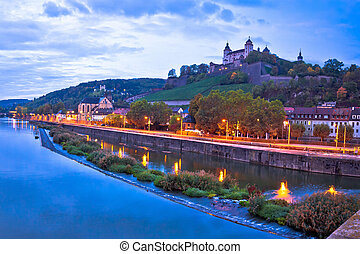 Wurzburg. Old Main Bridge over the Main river and scenic riverfrontof Wurzburg dawn view, Bavaria region of Germany