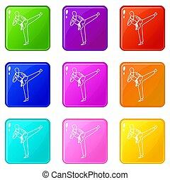 Wushu master icons 9 set - Wushu master icons of 9 color set...