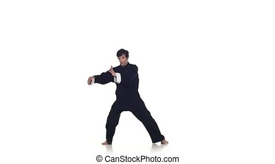 Wushu or karate man in a black kimono on a white background,...