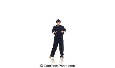Wushu or karate man in a kimono It shows the different...