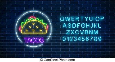 wuth, fastfood, café, alphabet., lumière, cadre, néon, symbole., tacos, incandescent, item., menu, panneau affichage, cercle, signe