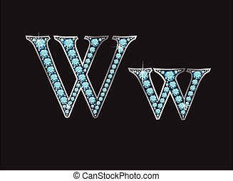 ww, acquamarina, font, ingioiellato