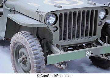 Close up of a WW II Jeep 4 X 4