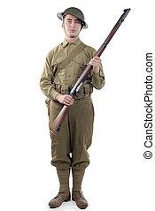 ww1, 軍隊, イギリス, フランス, 兵士, 1918, 白