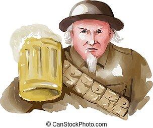 ww1, sam, acuarela, soldado, cerveza, tío, brindar