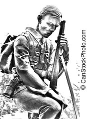 Black and white illustration of a statue of a soldier