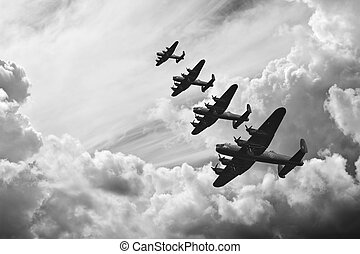 ww2, 形象, 飞机, 不列颠, 黑色, retro, 白色, batttle