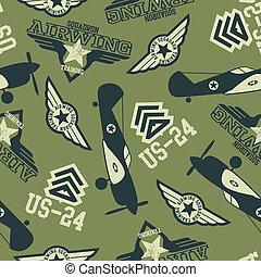 WW2 air squadron seamless pattern.