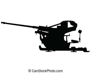 ww2, avión, -, arma de fuego, anti