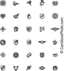 ww2, designa, militär, emblem, sätta