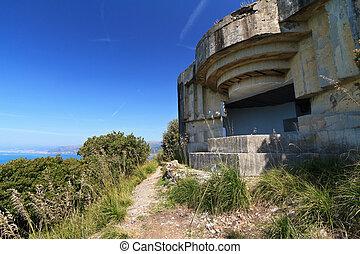 second world war fortification over Mediterranean sea, Liguria, Italy