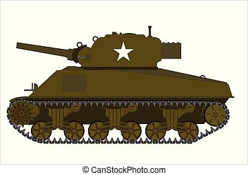ww2, m4, sherman, americano, tanque