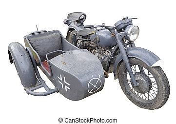 ww2, militar, motocicleta, con, sidecar