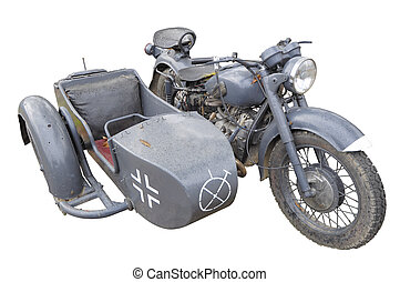 Motorcycle ( IMZ M72) painted as German military BMW R71 prototype isolated on white: Open air museum in Myshkin town, Russia