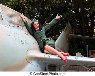WW2 pinup soldier - Sexy pin-up model in WW2 uniform posing...