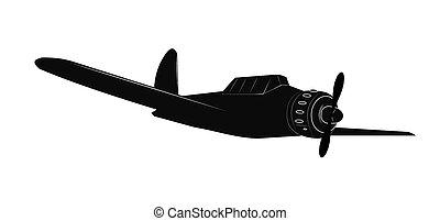 ww2 plane in silhouette - ww2 airplane in silhouette over...