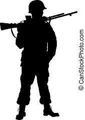 WW2 soldier. Warriors theme - Second World War soldier with...