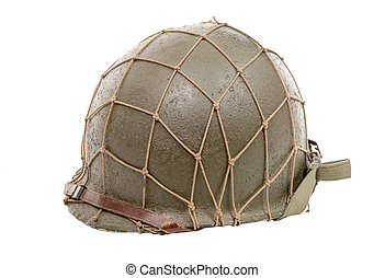 ww2 US military helmet isolated on a white background