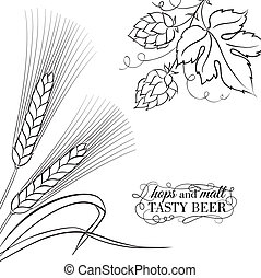 Wwheat ear and hop.
