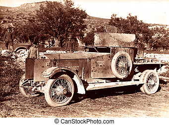 WW1 captured English armoured car in Valley of Jordan world war 1 soldiers