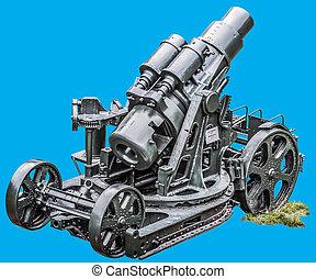 WWI Heavy Siege Howitzer Gun - Skoda 305 mm Model 1911 Isolated