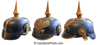 WWI LEATHER HELMET - WWI LEATHER GERMAN PICKELHAUBE SPIKED...