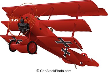 WWI Triplane Warbird Illustration - Beautiful vintage World ...