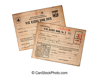 WWII Food Ration Books - Two food and commodity ration books...