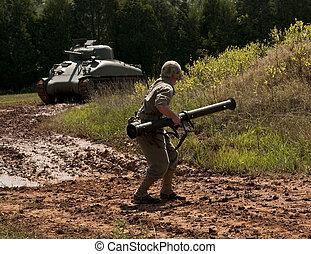 WWII Marine halts Sherman Tank - WWII Marine with bazooka ...