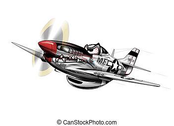wwii, mustang, p-51, motorflugzeug, karikatur