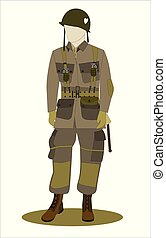 wwii paratrooper in Normandy D-Day on white background
