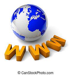 www, świat, 3d, ilustracja, internet, pojęcie