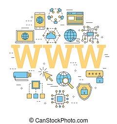 www, 概念, 手紙, 線である, インターネット