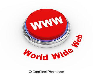 www, 3d, bottone