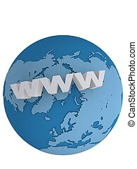 3d rendered illustration of a globe with internet sign