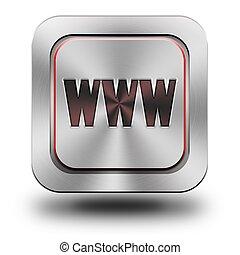WWW aluminum glossy icon
